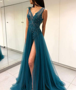 teal green tulle long prom dress side slit charming evening dress, HO224