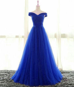 Simple Sweetheart Tulle Blue Long Prom Dresses, Blue Evening Dresses,PD4558954