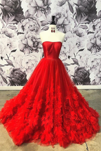 Red tulle long prom dress, red tulle evening dress,BH91170