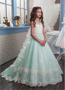 Mint Green Long Tulle And Lace Flower Girl Dresses For Wedding, little girl dress with cloak, FD010