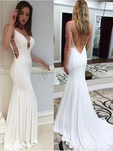 sexy white mermaid prom dress open back v-neck formal evening dress, PD4545
