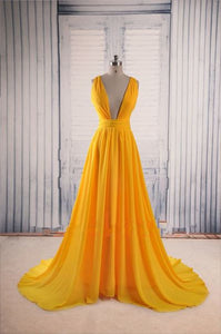yellow Prom Dresses,V-neck prom dress,cheap prom Dress,party prom dress,evening dress,BD0404