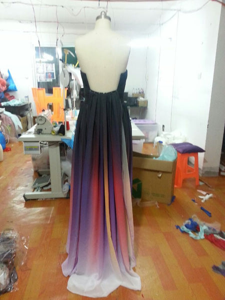 Chiffon prom dress,long Prom Dress,2016 evening gown,gradient evening gown,strapless prom gown,BD1006