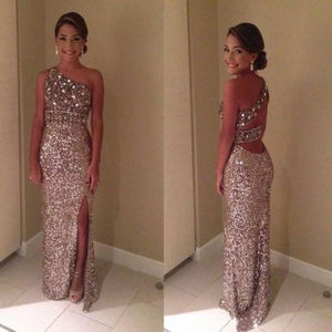 one shoulder Prom Dress,long Prom Dress,charming Prom dress,side slit rhinestones prom Dress,BD607