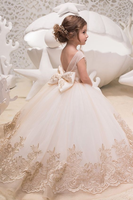 Long Ivory Flower Girl Dresses, Cheap Little Girl Dresses, Girl's Birthday Party Dresses, FD006