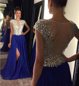 Charming prom Dress,Royal blue Prom Dresses,Side slit prom Dress,Cap sleeves prom dress,Evening dress,BD065
