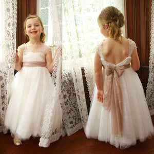 Cute White Long Flower Girl Dresses, Cheap Lovely Tulle Little Girl Dress, FD016