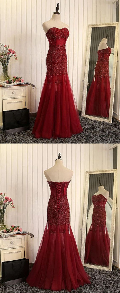 cd34c20c147 ... Elegant Beaded Lace Sweetheart Mermaid See Through Tulle Prom Dresses  2018
