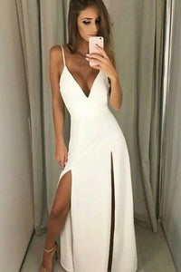 sexy deep v-neck long prom dress with slit white spaghetti straps evening dress, PD4541