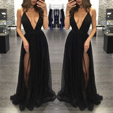 black Evening Dress,v-neck Prom Dress,long prom dress, sexy prom dress,tulle evening dress,BD2700