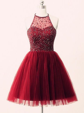 Short Prom Dresses, red homecoming dresses, with beads homecoming dresses, High neck homecoming dresses,PD45652