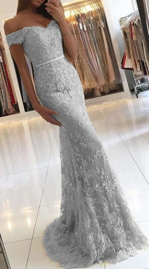 51d08a39d4e3 Sexy Mermaid Prom Dresses,Off the Shoulder Prom Dresses,Long Eveing Dress,Grey  ...