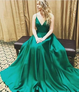 Green PromD resses,V-neck,Spaghetti,Long,Elegant,Simple,Cheap,A-line,Charming,Handmade,Prom Dresses,BD25923