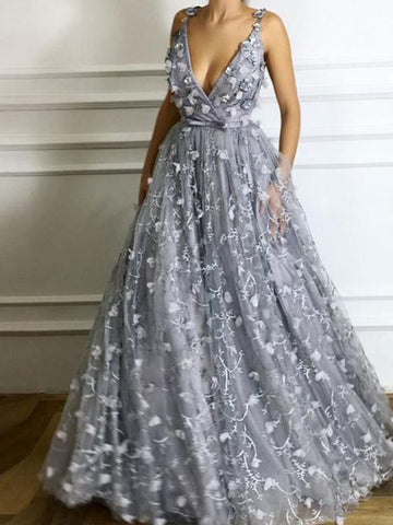 Gray Chic A-line V-neck Floral Long Prom Dresses,PD455895