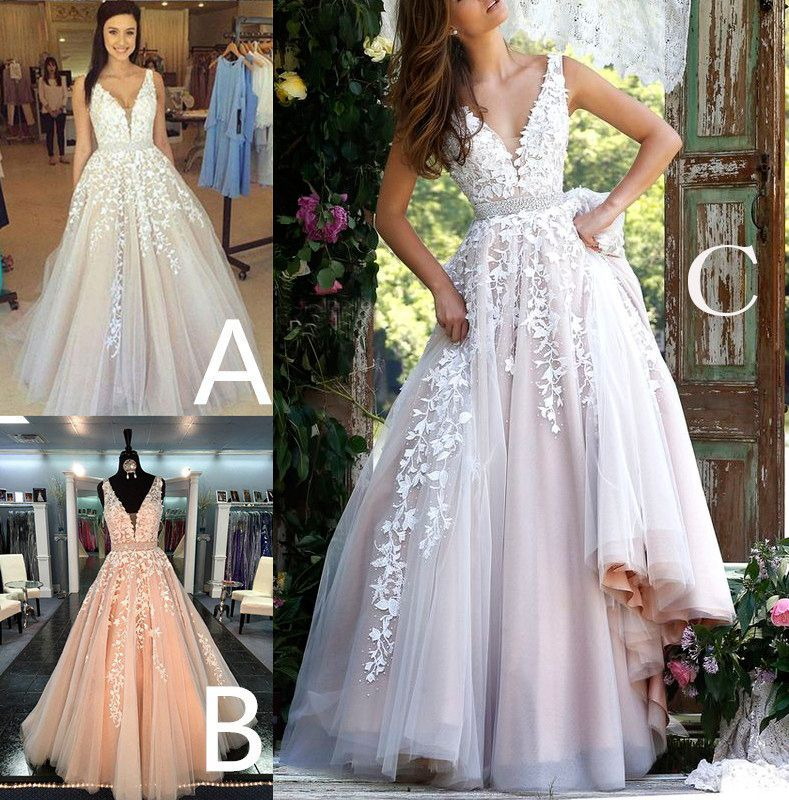 A-line V Neck Long Sexy Prom Dress,Ball Gowns Wedding Dresses,PD455883