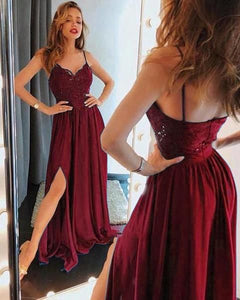 spaghetti straps burgundy chiffon long prom dress, HO238