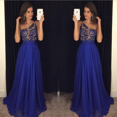 One-shoulder Prom Dresses,Gorgeous  Prom Dress,A-line Prom Dresses,Royal Blue Prom Dress,Cheap Prom Dresses,PD00117