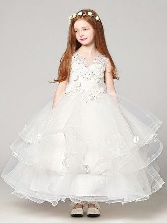 Fluffy White Flower Girl Dresses, Cute Little Girl Dress, Birthday Party Dress, FD018