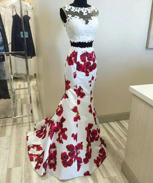 two Pieces Prom Dresses, mermaid Prom Dress,Dresses,floral Prom Dress,chic Prom Dress,BD2701