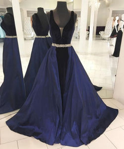 Simple Dark Blue V-Neckline Long Prom Dress,Backless Evening Dresses,PD455844