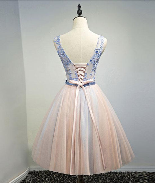 Pink V Neck Tulle Lace Short Prom Dresses, Homecoming Dresses,PD4558951