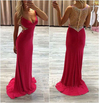 Hot pink prom dress,sexy prom dresses,long prom dresses,prom dresses 2016,cheap prom dresses,BD102