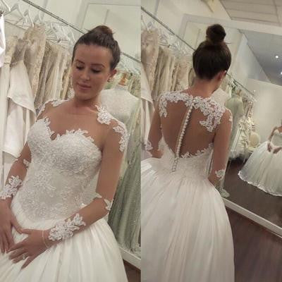 Elegant Wedding Dress,white Wedding Dresses,Long Sleeve wedding Dress,See-through Wedding Dresses,Cheap Wedding Dress,PD00129