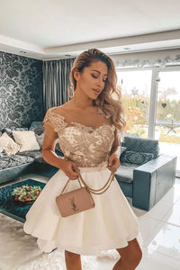 White lace short prom dress, white lace homecoming dress,BH91173