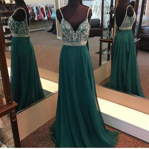 spaghetti straps green beaded long prom dress, HO245