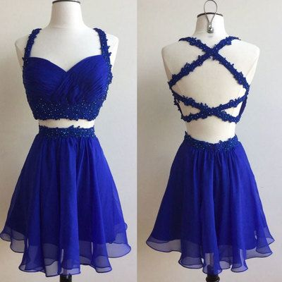 short Prom Dresses,royal Blue two pieces lace short prom dress, cute homecoming dress by DestinyDresses,PD45633
