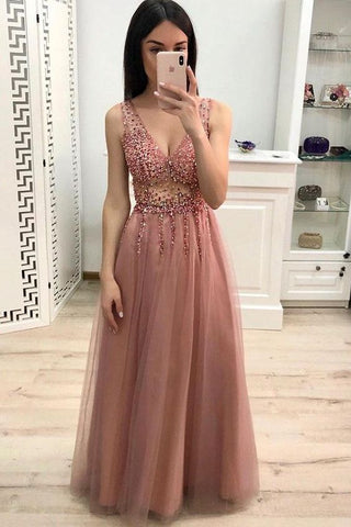 dusty pink tulle v-neck beaded long prom dress, HO244