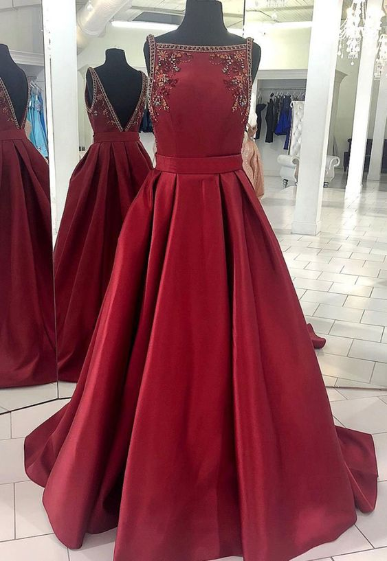 dark red simple a-line prom dress long satin evening gown, HO223