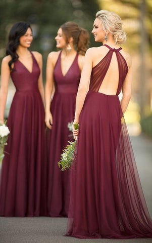 burgundy tulle Bridesmaid Dresses,v-neck Bridesmaid Dress,long Bridesmaid Dress,Cheap Bridesmaid Dresses,PD69475