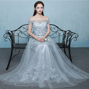 Elegant Grey Off Shoulder Beading Lace Appliques Vintage Lace Up A-line Long Prom DressesBD78