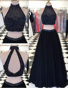 Modern High Neck Two-pieces Prom Dress-Black A-line with Beading,BD455857
