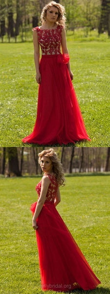 Red Prom Dresses Long, Lace Formal Dresses 2018, A-line Party Dresses Modest, Tulle Evening Gowns Cheap Online,BD44862