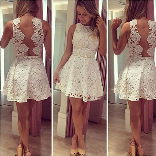 Lace Homecoming dress,Short prom Dress,White Prom Dresses,2016 Party dress for girls,BD300