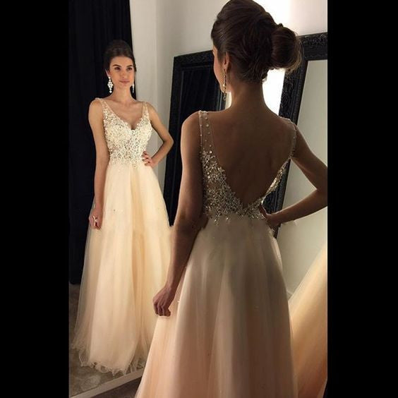 blush pink prom dress,long Prom Dress,v-neck evening gown,beaded evening gown,tulle prom gown,BD1008