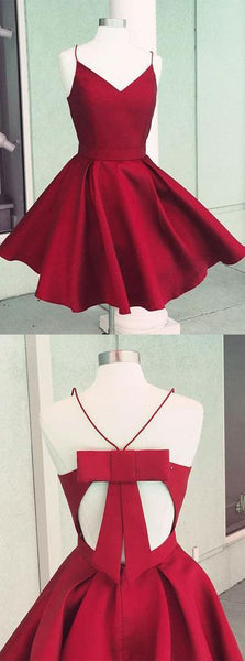 Short Satin V Neck Bow Back Homecoming Dresses ,BD45642
