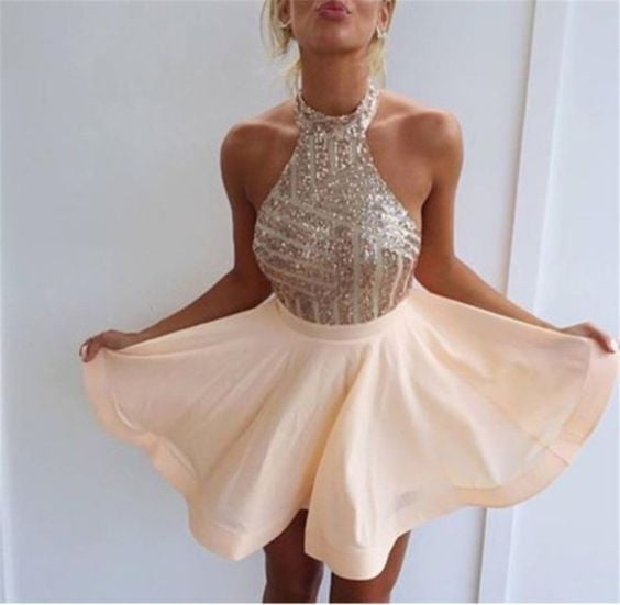 Homecoming dress,Short prom Dress,Charming Prom Dresses,Halter Party ...