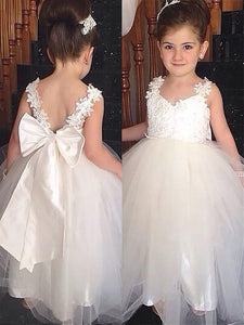 Cute Flower Girl Dresses For Wedding, Little Girl Dress With Bow, FD025