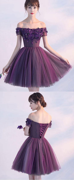 Cute A line purple off shoulder short prom dress, homecoming dresses,PD455874
