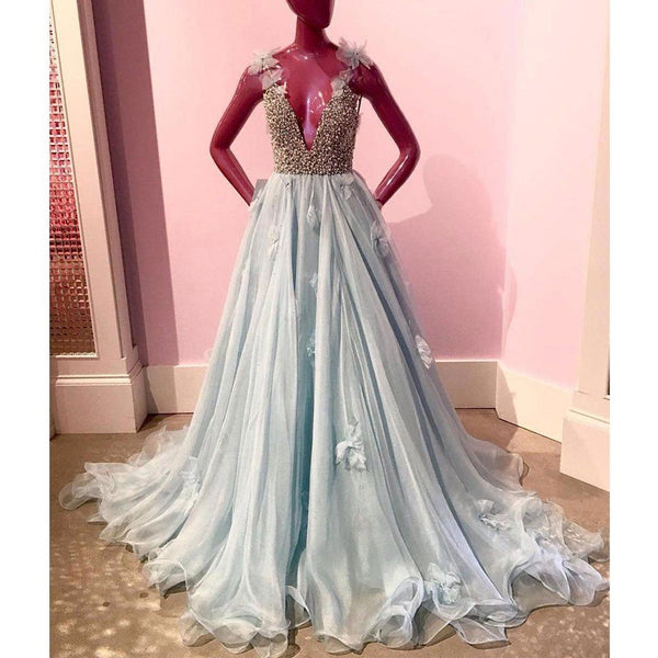 Blue Charming Beaded Top V Neck Affordable Long Prom Dresses,PD455881