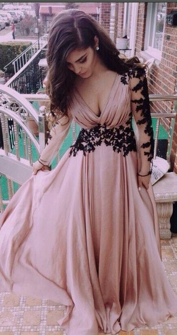 Prom Dreses With Sleeves,Women Prom Dresses,Cheap Simple Prom Dresses,Plus  Size Prom Dresses, Top Selling Deep V-neck Long Sleeves Lace Pink A-line ...