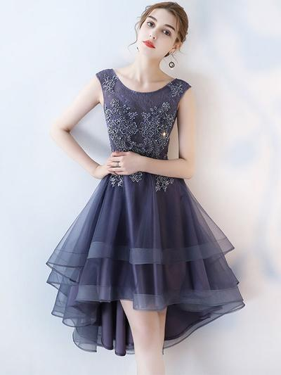 A-line Scoop Neck Dark Grey Lace High Low Prom Dresses,BD36529
