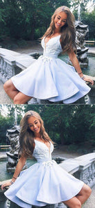 Cute v neck lace short prom dress, homecoming dress,BD49512