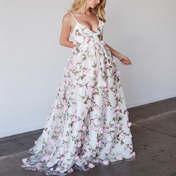 Spaghetti V-neck Floral A-line Prom Dresses, Unique Evening Gown, Long Prom Dresses,BD41521