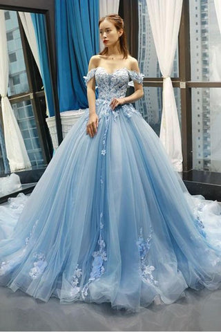 off shoulder light blue long prom dress, HO233