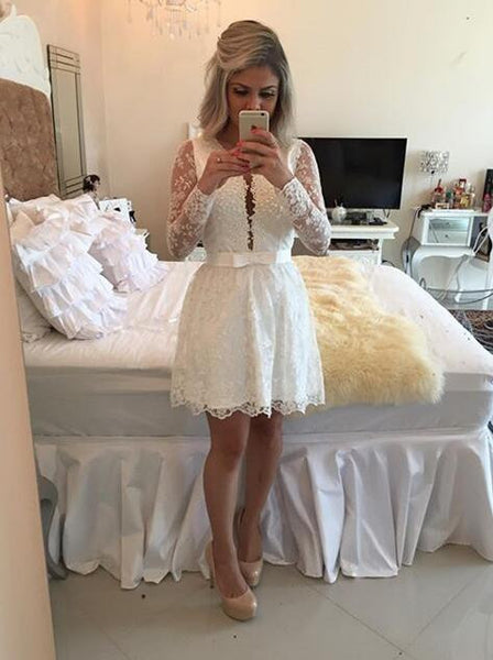 Short prom Dress,Charming Prom Dresses,White prom Dress,Lace homecoming dress,Party dress for girls,BD055