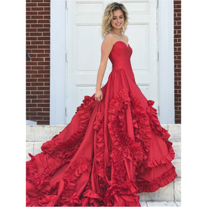 red sweetheart long vintage princess prom dress ball gown,HO205